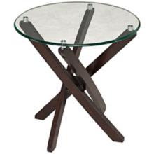 Xenia Round Wood and Glass End Table