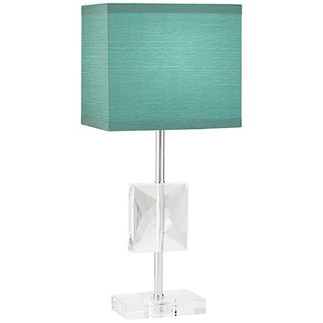Clara Donna Crystal Accent Teal Blue Table Lamp