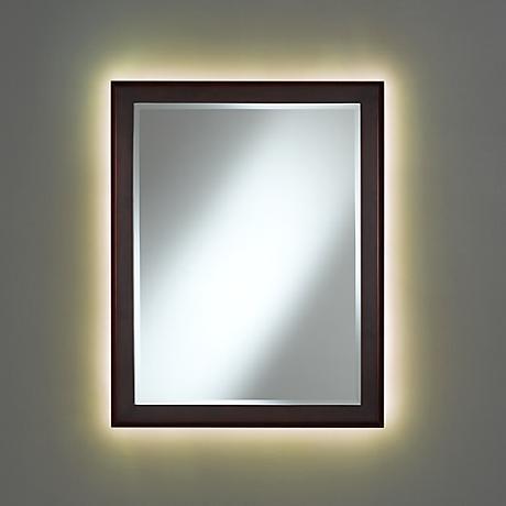 Vernon Espresso Wood Mirror with LED Light Kit