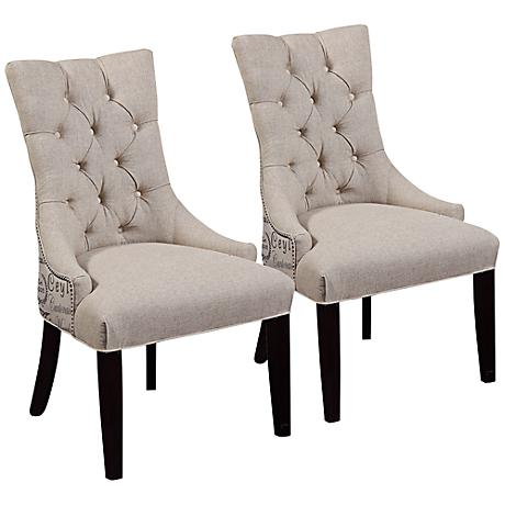 Set of 2 Tufted Scripted Linen Parsons Chairs