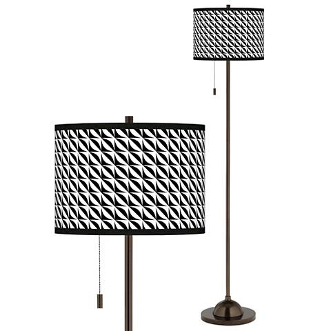 Waves Giclee Glow Bronze Club Floor Lamp