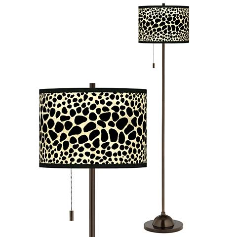 Leopard Giclee Glow Bronze Club Floor Lamp