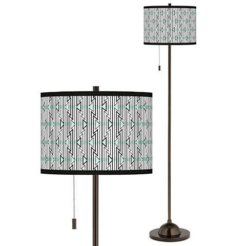 Indigenous Giclee Glow Bronze Club Floor Lamp