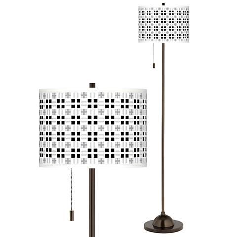 Quadrant Giclee Glow Bronze Club Floor Lamp