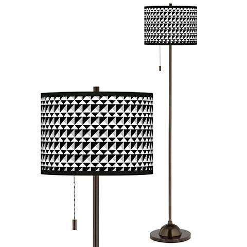 Triangle Illusion Giclee Glow Bronze Club Floor Lamp