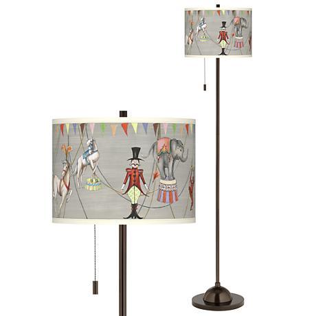 Circus Time Giclee Glow Bronze Club Floor Lamp