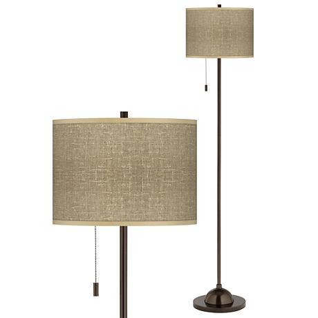 Burlap Print Giclee Glow Bronze Club Floor Lamp