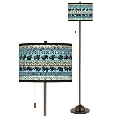 Elephant March Giclee Glow Bronze Club Floor Lamp