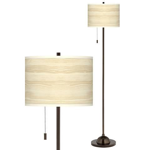 Birch Blonde Giclee Glow Bronze Club Floor Lamp