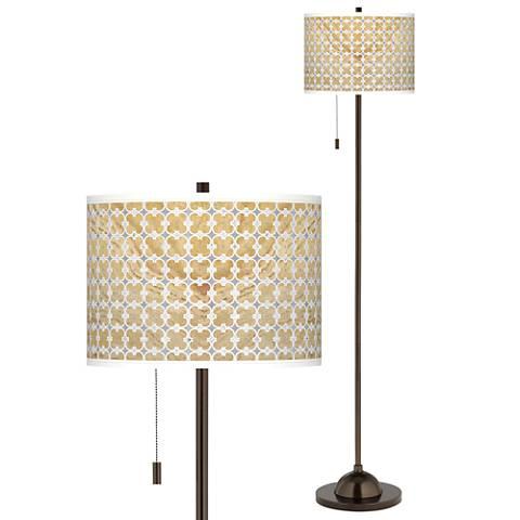 Marble Quatrefoil Giclee Glow Bronze Club Floor Lamp