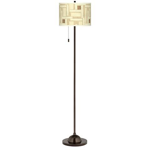 Organic Strands Giclee Glow Bronze Club Floor Lamp