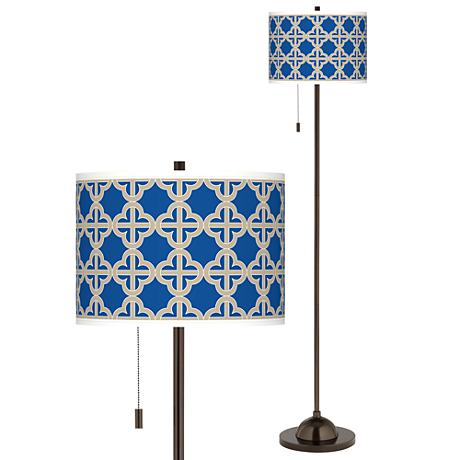 Four Corners Giclee Glow Bronze Club Floor Lamp