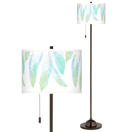 Light as a Feather Giclee Glow Bronze Club Floor Lamp