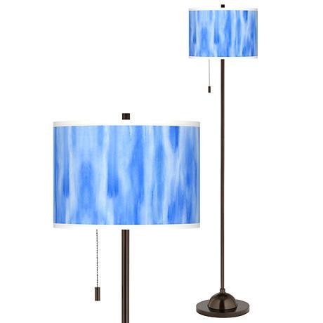Blue Tide Giclee Glow Bronze Club Floor Lamp