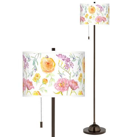 Spring Garden Giclee Glow Bronze Club Floor Lamp
