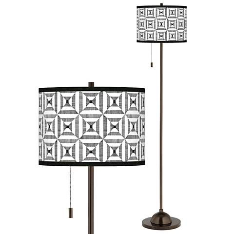 Tile Illusion Giclee Glow Bronze Club Floor Lamp