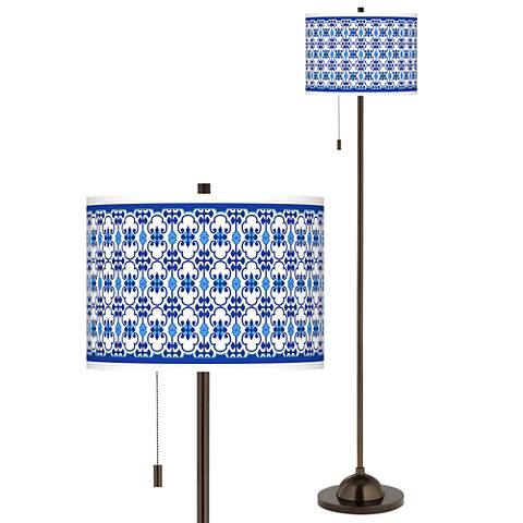 Indigo Path Giclee Glow Bronze Club Floor Lamp