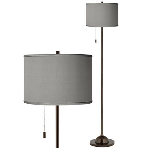 Gray Faux Silk Bronze Club Floor Lamp