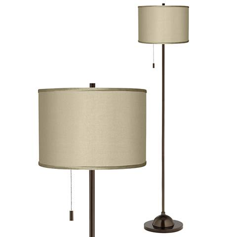 Sesame Faux Silk Shade Bronze Club Floor Lamp