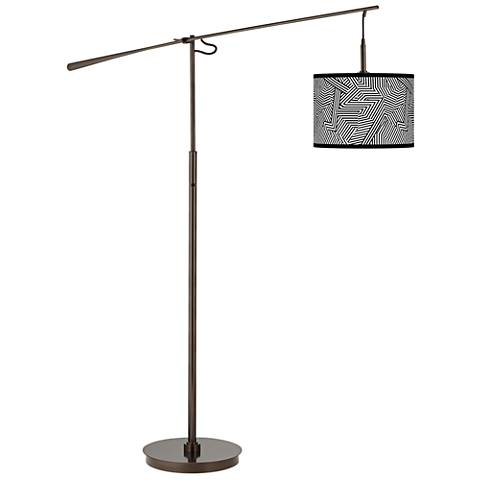 Labyrinth Giclee Glow Bronze Balance Arm Floor Lamp