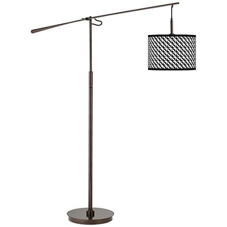 Waves Giclee Glow Bronze Balance Arm Floor Lamp