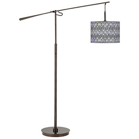 American Ikat Giclee Glow Bronze Balance Arm Floor Lamp