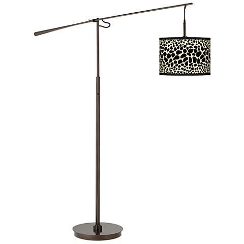 Leopard Giclee Glow Bronze Balance Arm Floor Lamp
