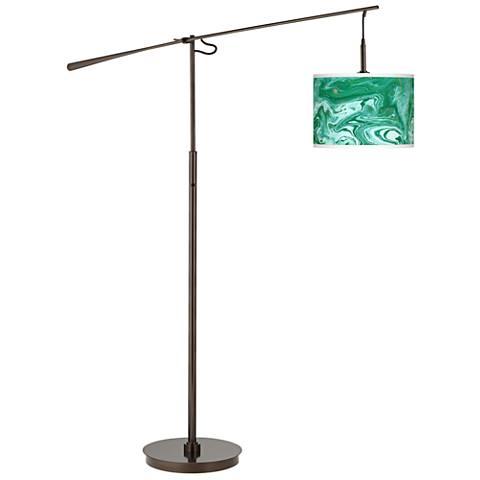 Malachite Giclee Glow Bronze Balance Arm Floor Lamp