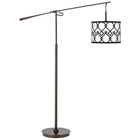 Diamond Chain Giclee Glow Bronze Balance Arm Floor Lamp
