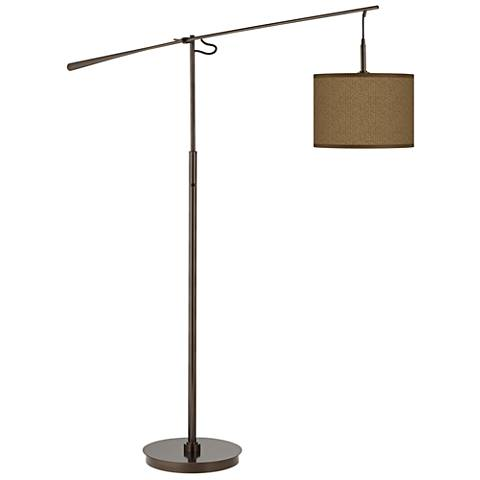 Khaki Giclee Glow Bronze Balance Arm Floor Lamp