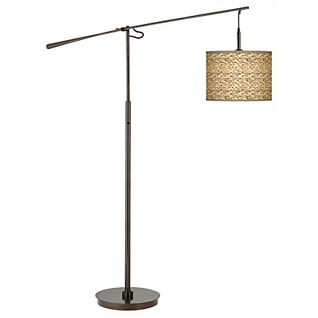 Seagrass Print Giclee Glow Bronze Balance Arm Floor Lamp