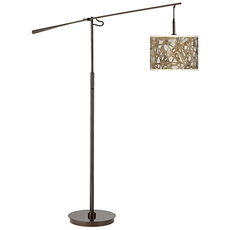 Organic Nest Giclee Glow Bronze Balance Arm Floor Lamp