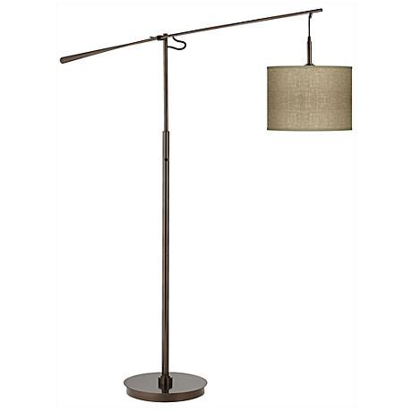 Burlap Print Giclee Glow Bronze Balance Arm Floor Lamp