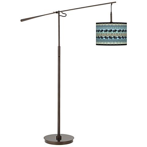 Elephant March Giclee Glow Bronze Balance Arm Floor Lamp