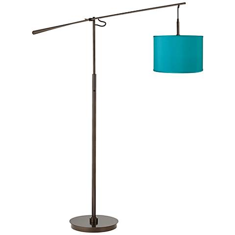 Teal Blue Faux Silk Bronze Balance Arm Floor Lamp