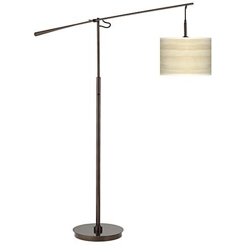 Birch Blonde Giclee Glow Bronze Balance Arm Floor Lamp