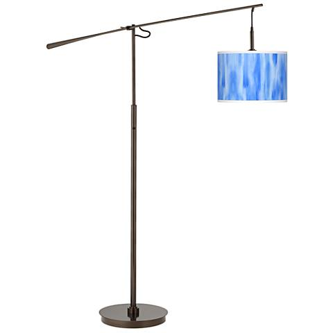 Blue Tide Giclee Glow Bronze Balance Arm Floor Lamp