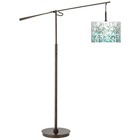 Aqua Mosaic Giclee Glow Bronze Balance Arm Floor Lamp