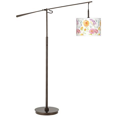 Spring Garden Giclee Glow Bronze Balance Arm Floor Lamp