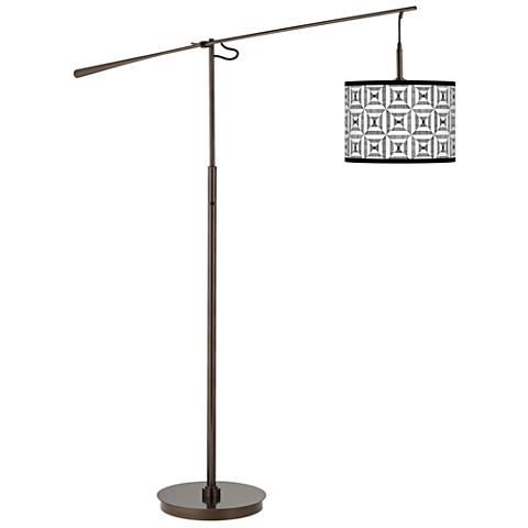 Tile Illusion Giclee Glow Bronze Balance Arm Floor Lamp