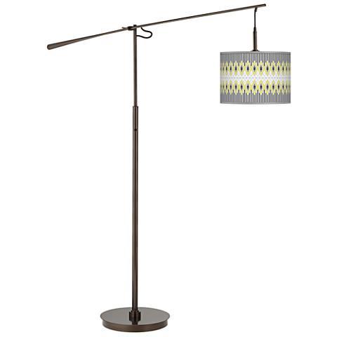 Desert Geometric Giclee Glow Bronze Balance Arm Floor Lamp
