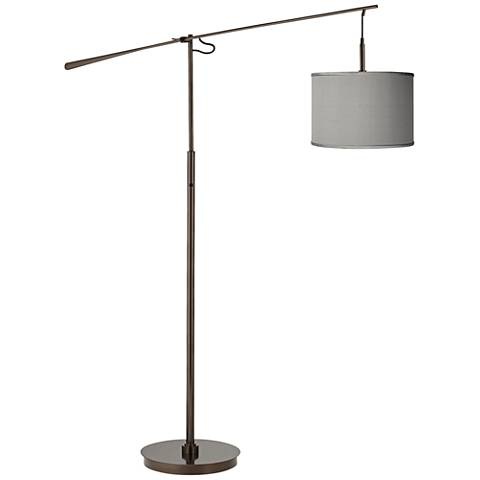 Gray Faux Silk Bronze Balance Arm Floor Lamp