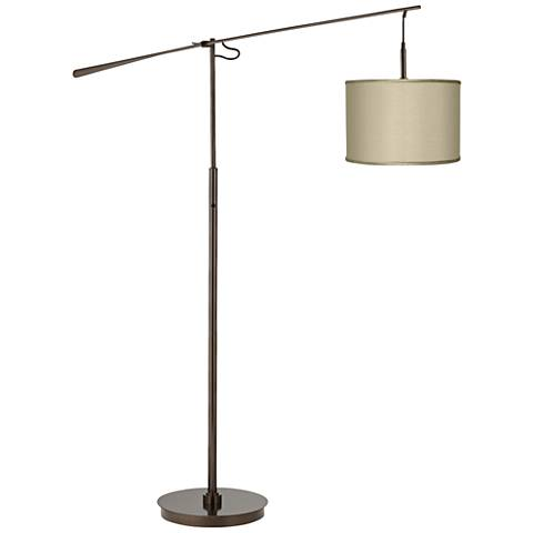 Sesame Faux Silk  Bronze Balance Arm Floor Lamp