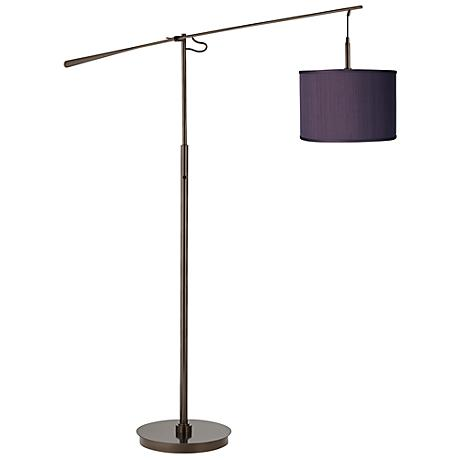 Eggplant Faux Silk Bronze Balance Arm Floor Lamp