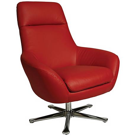 Impacterra Ellejoyce Red Leather Swivel Club Chair