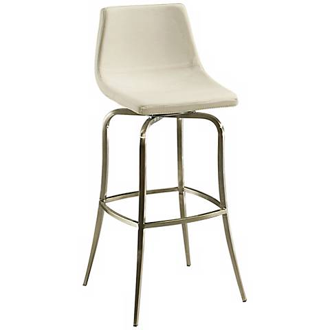"Diamond Pearl 26"" Ivory Stainless Swivel Counter Stool"