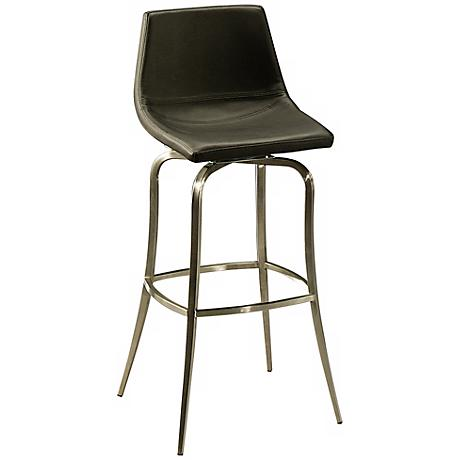 """Diamond Pearl 26"""" Black and Stainless Swivel Counter Stool"""