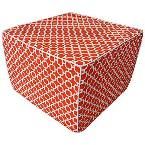 Blocks Square Orange Ottoman