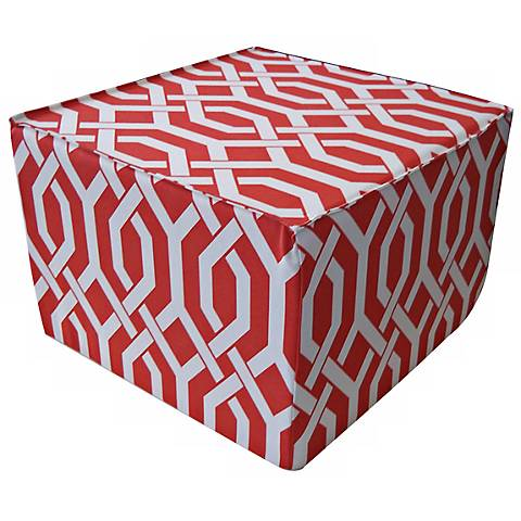 Fork Outdoor Square Red Ottoman