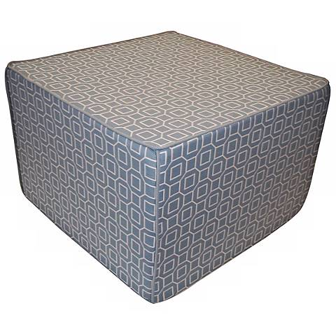 Hexagon Outdoor Square Robin Blue Ottoman